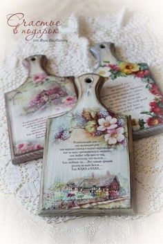 I don't love these in the picture so much but I love the idea to use an old wooden cutting board and decoupage whatever you'd like on it and use it or hang it for decor**! Decoupage Vintage, Decoupage Wood, Wood Crafts, Diy And Crafts, Paper Crafts, Craft Projects, Projects To Try, Creative Crafts, Painting On Wood