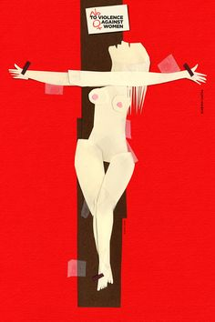 Desde las redes sociales y su lugar de trabajo, también se puede expresar en contra de la violencia femenina como en favor de la igualdad de género.   ilustración de Elżbieta Chojna.
