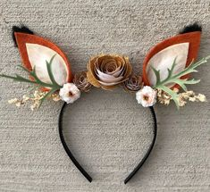 Fox Headband with Flowers-Fox Costume-Fits Kids and Adults-Halloween, Woodland B.Fox Headband with Flowers-Fox Costume-Fits Kids and Adults-Halloween, Woodland Birthday - AdultsHalloween birthday CostumeFits FlowersFox Haus Dekoration Archives Deer Ears, Fox Ears, Deer Antlers Headband, Fox Halloween Costume, Deer Costume For Kids, Diy Fox Costume, Party Animal Costume, Women Deer Costume, Diy Halloween Headbands