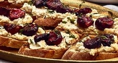Ingredients  12 slices toasted baguette 9 ozRicotta 12 cherries, pitted and halved 12 sprigs of fresh thyme 1 tablespoon olive oil 1 Maillemustard with Champagne Brandy & Winter Spices  Maille balsamic vinegar glaze    Preparation  Preheat the oven to390 °F. Place the slices of baguette on a sheet pan and toast the slices of baguette for 7 minutes on the lower rack. At the same time, on a sheet pan lined with parchment, place the cherries and thyme and drizzle with the 1 tablespoon of...