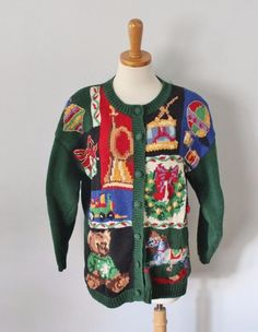 Ugly Christmas Sweater Jumper Women L Men M Heirloom Collectibles TACKY bear C30 #HeirloomCollectibles #Cardigan