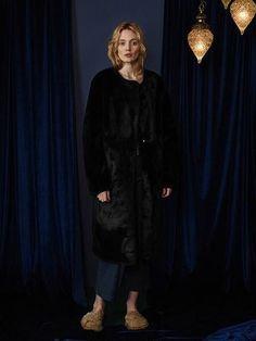 Hzct002 Fur Long Coat Black