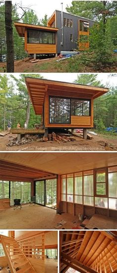Decor Hacks : refugio-autosuficiente-en-ontario -Read More – Tiny House Cabin, Cabin Homes, My House, Container House Design, Tiny House Design, Container Homes, Casas Containers, Little Houses, House In The Woods