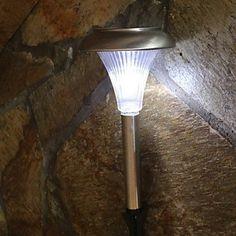 8 Hour Solar Powered White LED Light Lamp Garden Post Driveway Lighting System