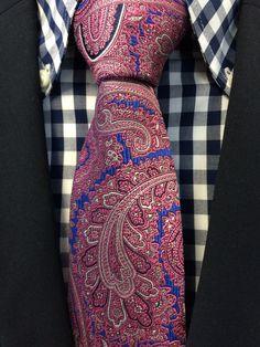 Haddon & Burley Pink ornate paisley silk tie