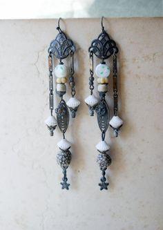 Chandelier Earrings - Long Beaded Earrings - Metal Filigree, Lampwork Glass, Stars, Polymer Clay Beads - Assemblage Earrings. $46.00, via