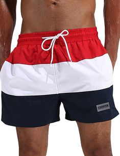 61fd0d65f4 Men's Clothing, Swim, Trunks,Men's Spliced Color Swim Trunks Beach Short -  Red