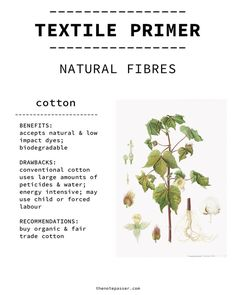 Textile Primer: Natural Fibres | thenotepasser. Information by /tallpoppies/. ethicalfashion textile