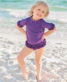 276ca76155 RuffleButts.com - Grape Polka Dot Ruffled Rash Guard Bikini Another  RuffleButts favorite! Our