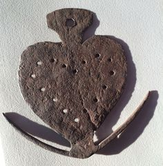 """This is a reproduction!!! Hand forged iron skewer holder shaped like a heart. Mid-20th Century. There are honest people on EBay. 8"""" X 8""""."""