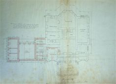 Ottershaw Park - Architects plan of the ground floor of the Mansion 1868 Note: proposed new East wing kitchens shown in red.