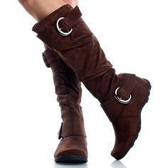 Brown-Suede Casual Comfortable Buckle Slouch Womens Knee High Boots