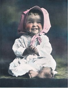 Pink Bonnet Sweetheart Hand Tinted Photo by RedfordRetro on Etsy, $15.00