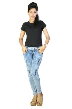 Acid wash blue distress  jeans by fashion stylus