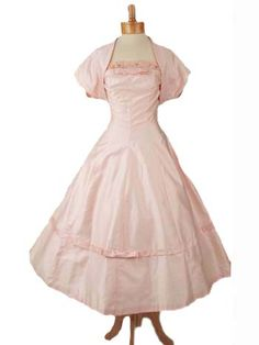 50s Pink Strapless Princess Style  Full Skirt Tea Length Dress Jacket Set
