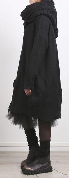 rundholz dip - Strickkleid mit Reißverschlüssen Oversize Cashmere Mix black - Winter 2017