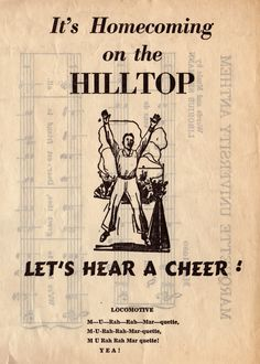 """""""It's Homecoming on the Hilltop. Let's hear a cheer!"""" More than 50 years ago, The Marquette Tribune student newspaper printed flyers with cheers for the homecoming football game. """"The Hilltop"""" refers to Marquette's original campus on a hill at North 10th and State Streets. Marquette University dropped its football program in 1960. Thanks to Barb West from Marquette IT Services for the flyer."""