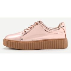 SheIn(sheinside) Rose Gold Patent Leather Rubber Sole Sneakers ($39) ❤ liked on Polyvore featuring shoes, sneakers, patent shoes, lacing sneakers, round toe sneakers, patent sneakers and laced shoes
