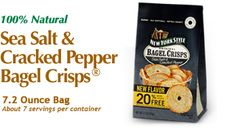 New York Style Sea Salt & Cracked Pepper Bagel Crisps - The authentic taste of bagels from New York City bakeries. www.newyorkstyle.com/ #snacks #fingerfoods #quickbites #natural #bagels