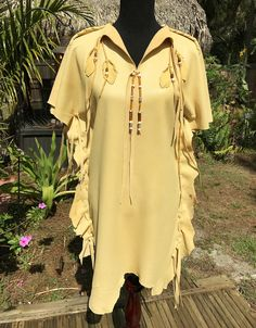 Deerskin Dress, Deerskin Tunic- Native American Style Short Buckskin Dress, Leather Tunic, with Fringe and Beads, Pow Wow Regalia