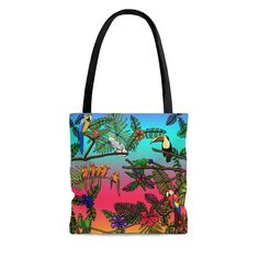 Delivery Bag, Tropical Birds, Handmade Items, Handmade Gifts, Bag Sale, Gift Bags, Black Cotton, Reusable Tote Bags, Trending Outfits