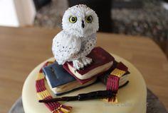 Harry Potter themed cake - little Hedwig with spellbooks, wand and scarf. https://facebook.com/karenscakesandart
