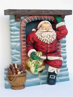 Santa coming out Chimney life size/levensgroot/kerstfiguren-kerstbeelden Christmas In July, Christmas Balls, Holiday, Coming Out, 4th Of July Wreath, Projects To Try, Christmas Decorations, Santa, Statues