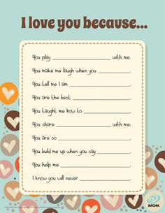 I Love You Because.Great for the kids to do for Mother's Day, Father's Day, Grandparent's Day, etc. day dinner ideas I Love You Because. Daddy Day, Mom Day, Activities For Kids, Crafts For Kids, Kids Diy, For Elise, Fathers Day Crafts, Presents For Mom, Grandparents Day