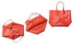 THE VIVIDS - Introducing the bag that packs perfectly flat - Loewe's Origami Lia. Leather Gifts, Leather Bags Handmade, Loewe Bag, Origami Bag, Red Bags, Leather Accessories, Womens Tote Bags, Bag Making, Fashion Bags