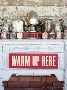 "Greet guests at your next holiday party cocoa bar with this easy DIY Cocoa Bar Marquee Sign telling them to ""Warm Up Here""!"