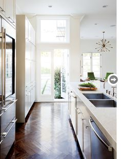 herringbone floors, cabinetry