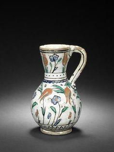Iznik pottery jug, Turkey, c. 1630.