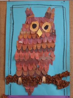 Pöllö Owl Crafts, Collage Ideas, Owl Art, Art School, Arts And Crafts, Drawings, Crochet, Projects, Crayon Art