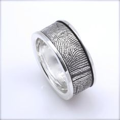 12mm Sterling Silver Custom Fingerprint Wedding/Commitment Band with Side Rims - Awesome Men's wedding ring!