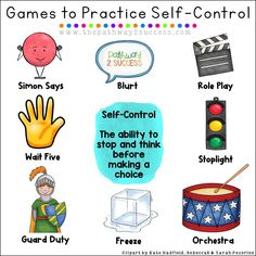 Use these games and play activities to strengthen self-control and self-regulation skills for kids and young adults. Teachers can use these games during break times or even as rewards! Games can be one of the best ways to help boost self control for teens Coping Skills, Social Skills, Life Skills, Social Issues, Counseling Activities, Play Therapy Activities, Teen Activities, Calming Activities, Therapy Worksheets