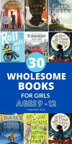 Wholesome Middle Grade Chapter Books for Girls Ages 9 - 12 From reader requests, I've made a wholesome middle grade chapter book list for girls ages 9 - 12 with nice (not catty or mean) female main characters you'd want to be friends with your own kids. 4th Grade Reading, Kids Reading, Reading Lists, Books For Tweens, Books For Girls, Good Books, Books To Read, Book Suggestions, Book Girl