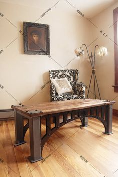 Old vintage wrought iron coffee table made of solid wood