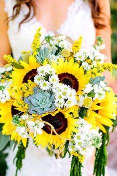 Brilliant Sunflower Wedding Bouquets For Happy Wedding ❤ See more: http://www.weddingforward.com/sunflower-wedding-bouquets/ #weddings #weddingflowers