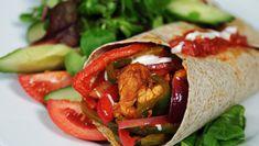 Chicken Fajita Chicken Fajita Recipe, Chicken Fajitas, Stuffed Green Peppers, Red Peppers, Fajita Mix, Natural Yogurt, Side Salad, How To Slim Down, Hot Sauce