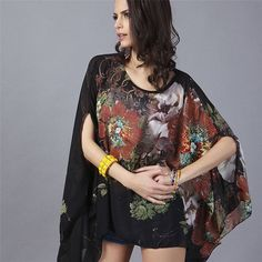 SkoonheiD 2017 New Arrival Casual O-neck Women Batwing Sleeve Blouse Loose Shirts Big Size Beach Tunic Tops Peplum Blusas Robe