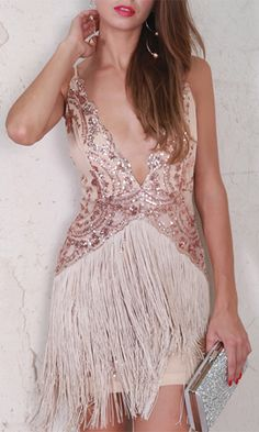 Shake It Out Sequin Fringe Sleeveless Spaghetti Strap V Neck Mini Dres – Indie XO Fringe Skirt, Gold Hands, I Dress, Bodice, Neckline, Pretty Dresses, Sequins, V Neck, Formal Dresses