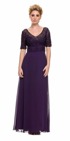 Long Chiffon Dress with Short Sleeve Lace Bodice by Nox Anabel 5105 Evening Dresses Plus Size, Long Evening Gowns, Formal Dresses For Women, Short Dresses, Chiffon Dress Long, Lace Dress With Sleeves, Lace Bodice, Half Sleeves, Evening Gowns Couture