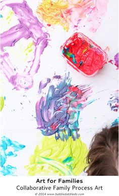 Get your family creating together with this easy to set up collaborative process art idea with baby-safe paint. Great for mixed ages of children!