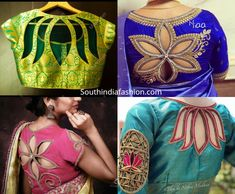 Floral cut out back neck designs for silk sarees Silk saree blouse designs featuring floral cut out design on the back. pattu saree blouse designs with cut work Blouse Designs High Neck, Stylish Blouse Design, Silk Saree Blouse Designs, Fancy Blouse Designs, South Indian Blouse Designs, Patch Work Blouse Designs, Choli Designs, Sari Blouse, Saris