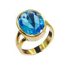 divine Blue Topaz CZ Copper Blue Ring gemstones L-1in US 5678