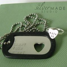 Military Stainless dogtag and sterling HEART by SilverMadeStudio, $35.00