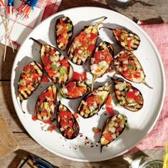 Grilled Baby Eggplants with Green Onion Salsa | MyRecipes.com #myplate #veggies