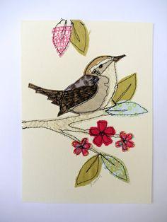 Jenny Wren stitched original art bird by AmandaWoodDesigns on Etsy