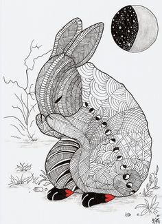 """Whimsical Zentangle® Inspired design named """"Moonlight Bunny"""" Completed 2-5-14.   A 12-pack of note cards are available for $23.00 with FREE shipping and handling.  Prints also available plus much more."""