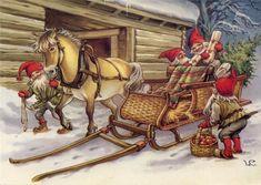 Lars Carlsson ' gnomes ' modern Rare new postcard Swedish Christmas, Christmas Gnome, Scandinavian Christmas, Christmas Deco, Vintage Christmas, Mary Christmas, Baumgarten, Mythological Creatures, Christmas Inspiration